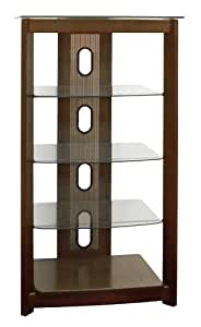 Poundex 5-Tier Glass Top Media Shelf, Chocolate