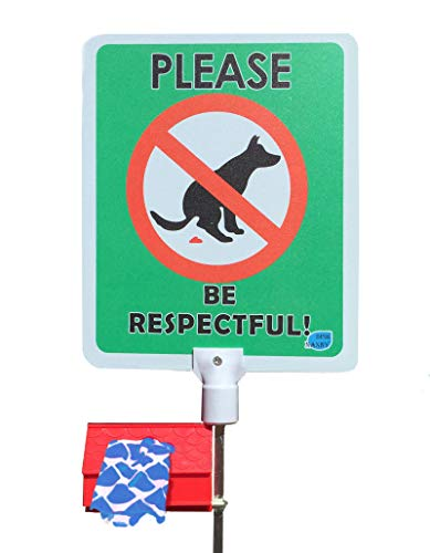 DISH NANNY No Poop Dog Signs Poop Bag Dispenser | Stop Dogs from Pooping On Your Lawn | Sign Reads:Please Be Respectful | Protect Property | No Poo | No ()