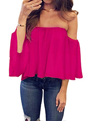 (Miskely Women's Summer Off Shoulder Blouses Short Sleeves Sexy Tops Chiffon Ruffles Casual T Shirt (XL, Rose Red))