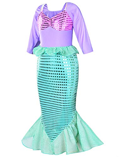 Girls Little Mermaid Costume Princess Dress Up For Birthday with Accessories(Crown+Wand) 4T 5T(110cm) by Party Chili (Image #5)