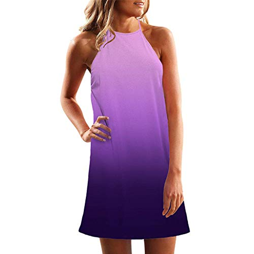 LIM&Shop  Summer Tank Dress Casual Mini Dress Sleeveless Gradient Top Crew Neck T-Shirt Knee-Length Skirt Skater Dress Purple