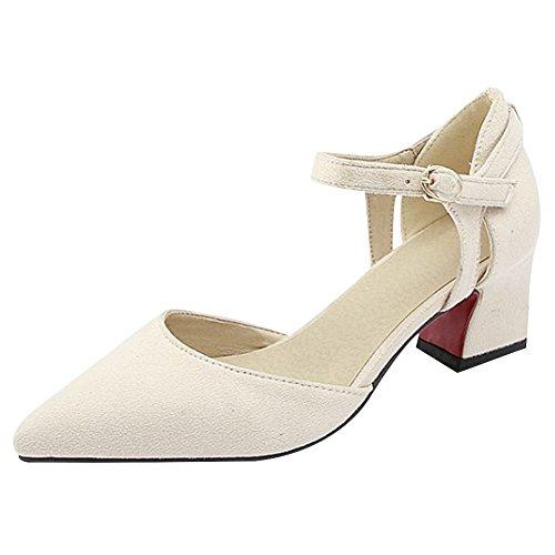 Mee Shoes Damen Chunky Heels Nubukleder Spitz Pumps Beige