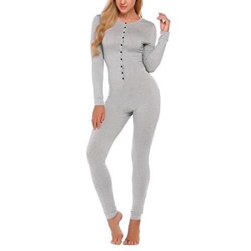 Ekouaer Bandage One Piece Pajama Romper Long Sleeve Jumpsuit Sleepwear For Women supplier