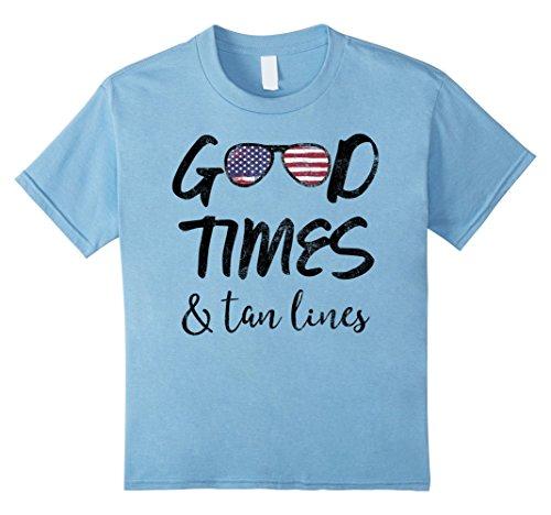 Kids Good Times & Tan Lines American Flag Sunglasses T-Shirt 6 Baby - Summer Tanlines