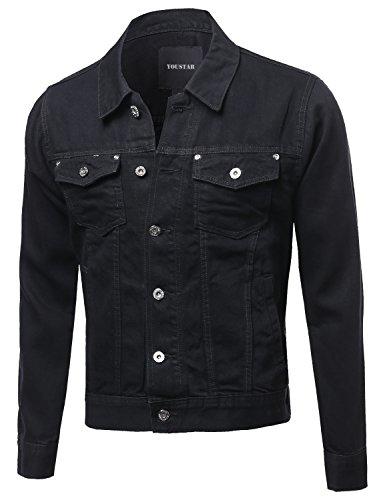 Casual Nicely Stone Washed Denim Trucker Jacket Black Size XL