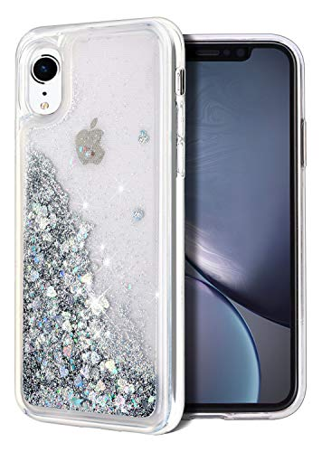 (for iPhone XR Case, WORLDMOM Double Layer Design Bling Flowing Liquid Floating Sparkle Colorful Glitter Waterfall TPU Protective Phone Case for Apple iPhone XR [6.1 Inch 2018], Silver)
