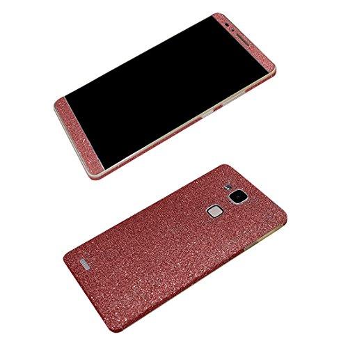 Huawei P8 Lite Vorderseite + Rückseite Aufkleber, Glänzend Skins zum Aufkleben Glitzer Ganzkörper Haut Schutz Schaum Film Decals für Huawei P8 Lite (Rose)