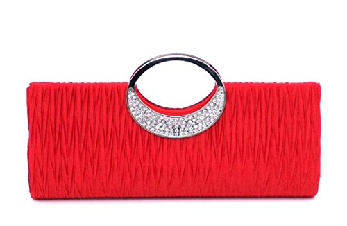 Womens Luxury Rhinestone Satin Pleated Evening Wedding Party Clutch Purse Wallet Handbag Red by ANSAN