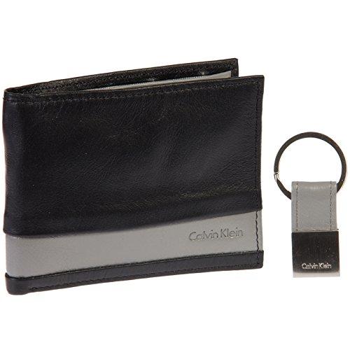 Calvin Klein Striped Leather Billfold Wallet & Key Fob Gift Set (Black/Grey)