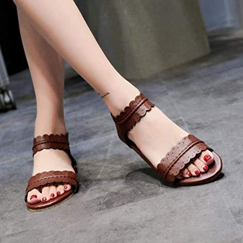 Zipper Sandales Plate Rond Taille Femme Uk Chaussures 6 Café Rome Bout Volants Talon Couverture Liquidation Mode Café coloré Hhgold qxv0X4wgzZ