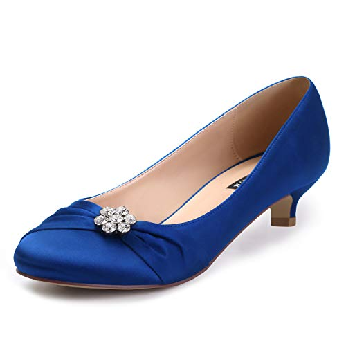 ERIJUNOR E0110 Women Closed Toe Comfort Kitten Heels Rhinestones Satin Wedding Evening Dress Shoes Blue Size 8