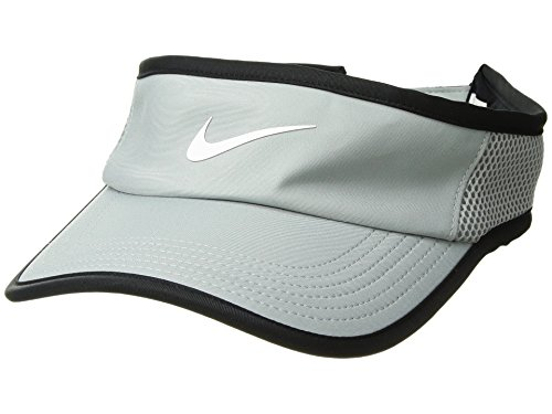 NIKE Women`s NikeCourt Aerobill Adjustable Tennis Visor (Light Pumice(899654-019)/Black, One Size)