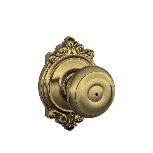 Schlage F40 GEO 609 BRK Brookshire Collection Georgian Privacy Knob, Antique Brass