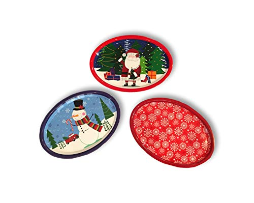 Set of Three Large Oval Christmas Holiday Design Melamine Platter Dishes (Red Truck Snowman, Santa & Snowflakes Red)