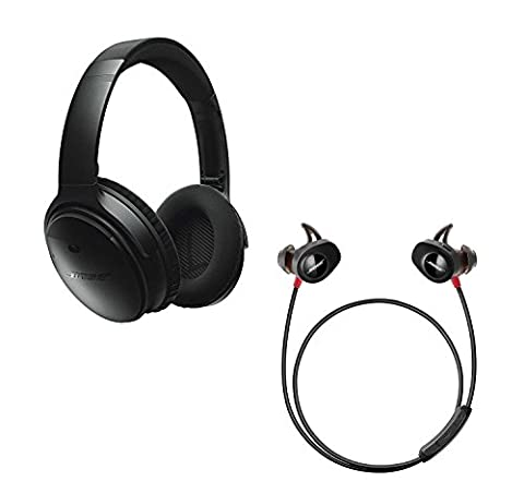 Bose QuietComfort 35 (Series I) Noise Cancelling Over-ear (Black) & SoundSport Pulse In-ear (Red) Wireless Bluetooth Headphone (In Ear Noise Cancelling Bose)