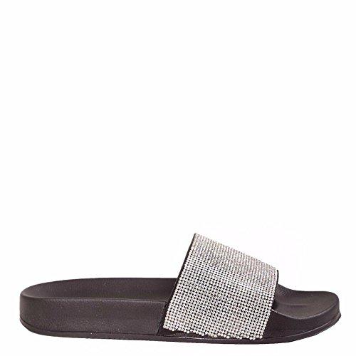 Slider Womens Sparkle Diamante Flip Flop Rubber Shoe Sliders Ladies Slip On Slippers UK Black/White tDseV