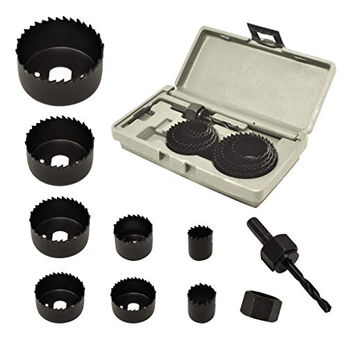 ryker hardware 10-Piece Hole Saw Kit for Wood – Durable Carbon Steel Power Drill Hole Cutter With High Precision Cutting…