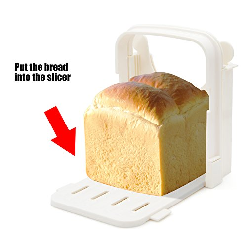 Bread Slicer Toast Slicer Yummy Sam Toast Cutting Guide Bread Toast Bagel Loaf Slicer Cutter Mold Sandwich Maker Toast Slicing Machine Folding and Adjustable with 5 Slice Thicknesses by Yummy Sam (Image #4)