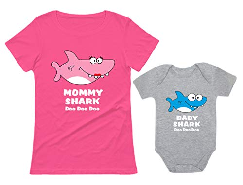 Kids T-shirt Body - Baby Shark & Mommy Shark Doo Doo Doo T-Shirt Bodysuit Set for Mother and Baby Mommy Pink Small/Baby Gray 24M (18-24M)
