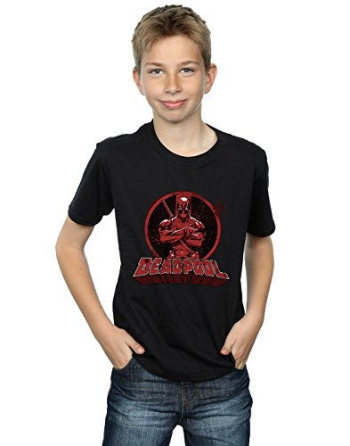 Marvel Boys Deadpool Crossed Arms Logo T-Shirt