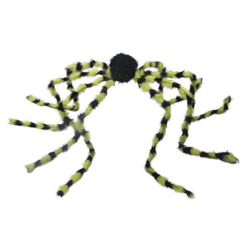 molezu Giant Posable Spider, Halloween Decoration Tarantula, Realistic Long Black and Yellow Plush, Huge Creepy Crawly Legs, Scary Red - Spider 50 Posable Inch
