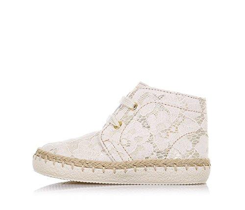 FALCOTTO - Chaussure à lacets beige en cuir avec pièces en dentelle, idéale pour les premiers pas et pour ramper, lacets beige, Fille, Filles