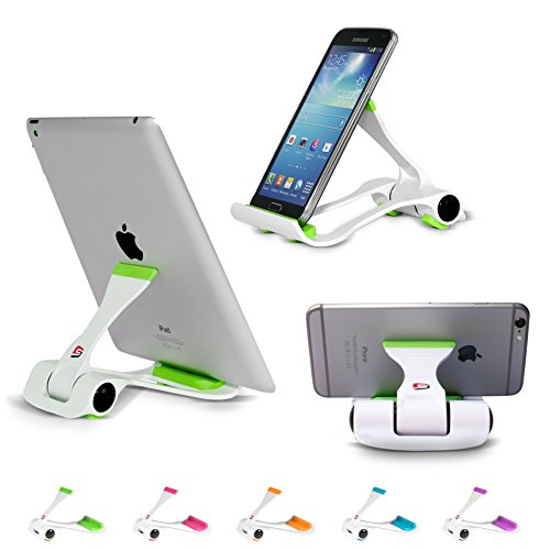 SIME-ON: Phone and Tablet Stand, Desk Holder Compatible with iPhone, iPad (Mini), Samsung Devices, Universal, Portable, Adjustable Multi-Angle - Green