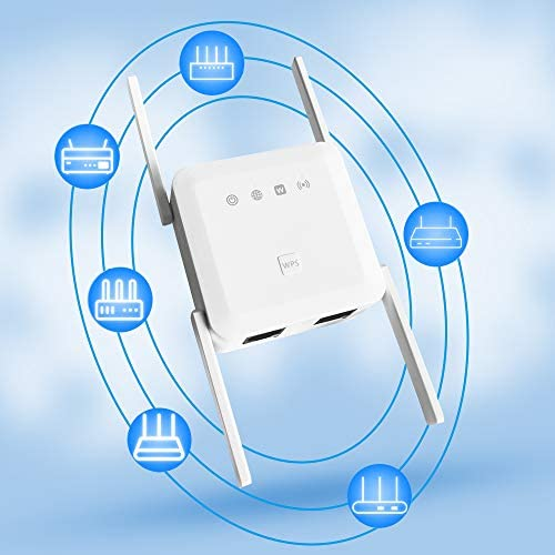 WiFi Range Extender, 1200Mbps Wireless Signal Repeater Booster, Dual Band 2.4G and 5G Expander, 4 Antennas 360° Full Coverage