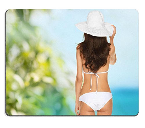 Luxlady Mousepad vacation beauty and lingerie concept back view of beautiful woman in bikini IMAGE 25545479