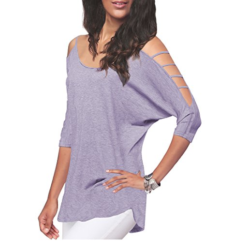 Women's Casual Loose Hollowed Out Shoulder Three Quarter Sleeve