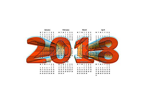 LAMINATED 36x24 inches Poster: Calendar New Year'S Day New Y