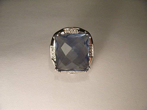 Magnificent Estate 14K White Gold Huge Fluorite Diamond Ring