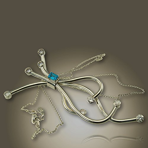 Outstanding Necklace Unique Shape in Sterling Silver With Blue (Dress Topaz Necklace)