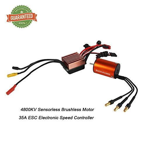 370 Brushless Motor - RCRunning B2435 4800KV 2mm Shaft Sensorless Brushless Motor with Waterproof 35A ESC for 1/16 1/18 RC Car