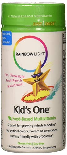 Kids Bone - Rainbow Light - Kids One Food-Based Multivitamin - Chewable Probiotic, Vitamin, and Mineral Supplement; Soy and Gluten-Free; Supports Brain, Bone, Heart, Eye and Immune Health in Kids - 30 Tablets