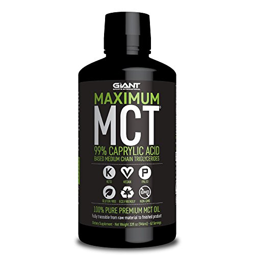 Giant Sports Maximum MCT Oil, 99% C-8 Caprylic Acid Medium Chain Triglycerides for Focus and Energy on Ketogenic and Paleo Diet - 32 Fl oz by Giant Sports