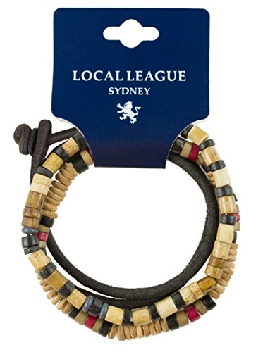 Local League SURF CREW HAWAII Mens Surfer Beads Bracelet Leather - Adjustable - Beige Beaded Man Wristband Rope Wrap -