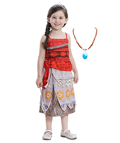 [Moana Girls Adventure Outfit Party Princess Costume Dress Necklace for Dress Up] (Balls To The Wall Costume)