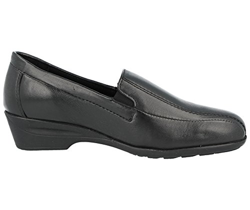 Ladies Dr Keller Real Leather Black Touch Close Button Slip On Mary Jane Loafer Flat Low Wedge Trouser Shoes Size UK 3-8 Erica 29Rkqj