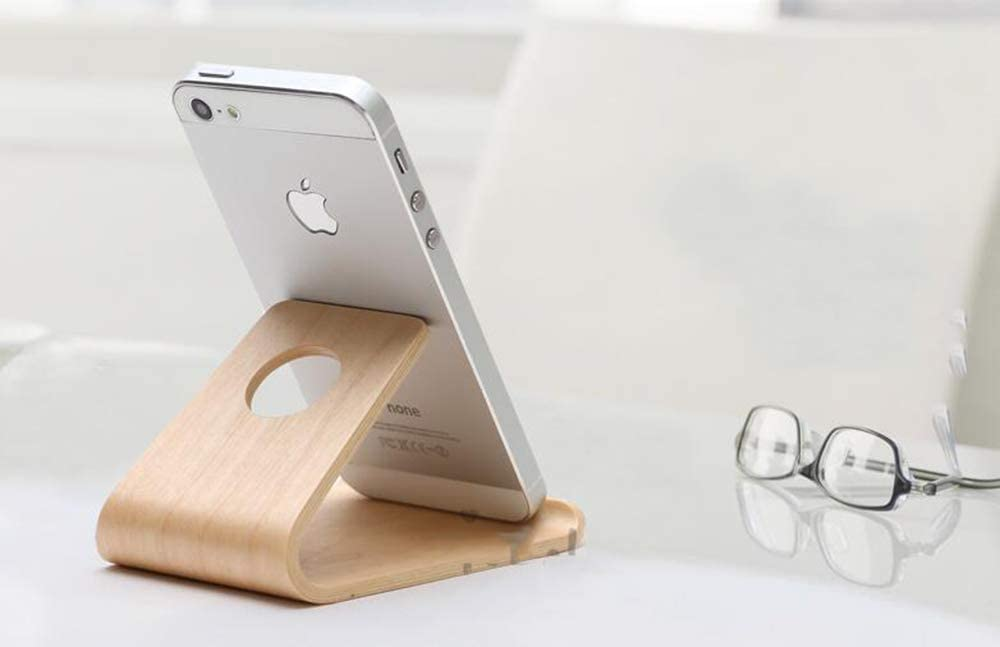 Universal Smartphone and Tablet Stand AYMMY Wooden Mobile Phone Holder