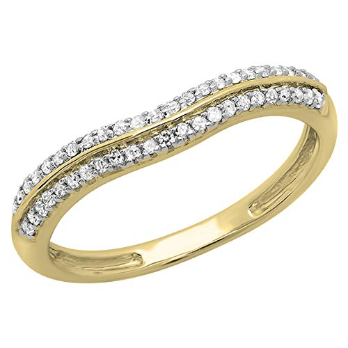 Dazzlingrock Collection 0.20 Carat (ctw) 14K Round White Diamond Ladies Double Row Curved Anniversary Wedding Band 1/5 CT, Yellow Gold, Size 6 (Diamond Anniversary Ring Row)