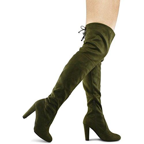 Premier Standard Damen Overknee Stiefel - Sexy Overknee Pullon Stiefel - Trendy Low Block Fersenschuh - Bequeme Easy Heel Boot Olive Su