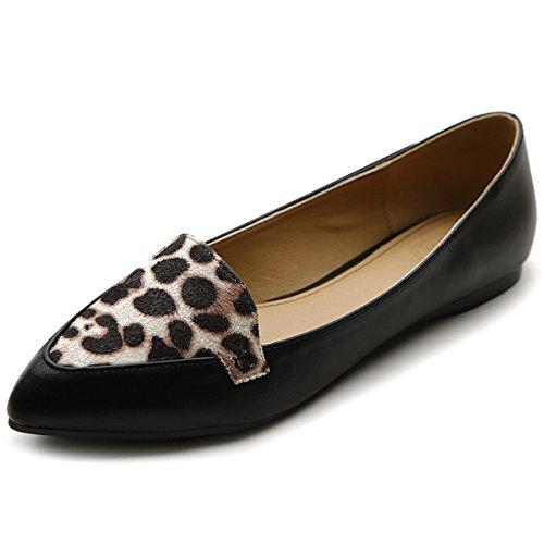 Ollio Women's Ballet Shoe Comfort Leopard Point Flat(6.5 B(M) US, Black)