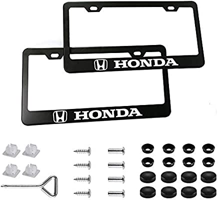 JS Auto 2pcs License Plate Frames with Screw Caps Set Stainless Steel Frame Applicable to US Standard Cars License Plate Fit Car Accessories fit Lincoln