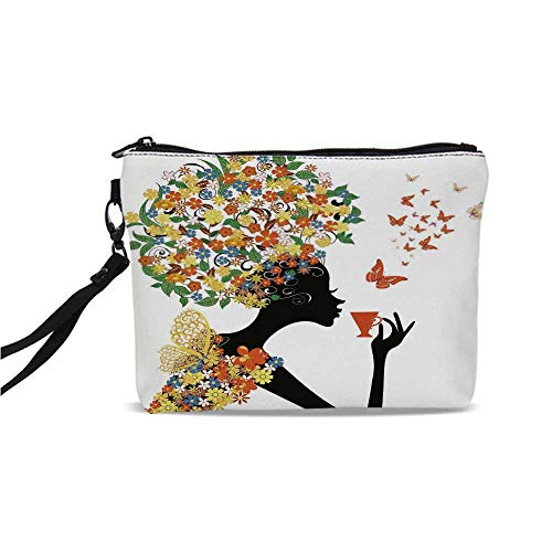 Floral Simple Cosmetic Bag,Woman Silhouette with Hot Tea Cup Butterflies Wings Daisies Poppy Hibiscus Hairstyle for Women,9