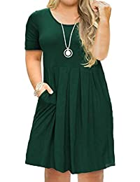 a5c94098f39 Women s Plus Size Casual Short Sleeve Long Sleeve Pleated T Shirt Dress  with Pockets