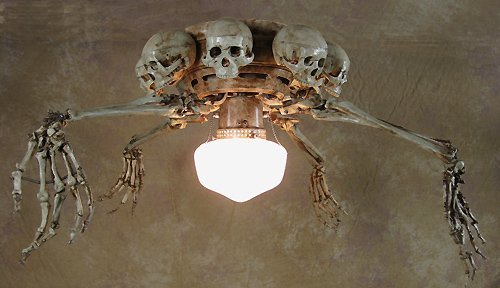 Superb Ceiling Fan With Skeleton Arms, Skulls And Light