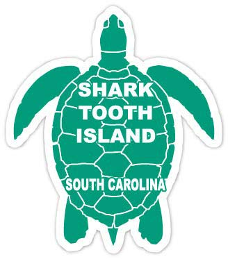 (R and R Imports Shark Tooth Island South Carolina Souvenir 4 Inch Green Turtle Shape Decal Sticke)