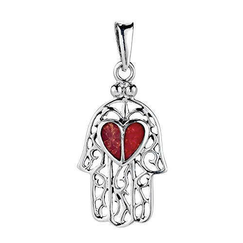 AeraVida Red Heart Hand of Hamsa Reconstructed Red Coral Inlay .925 Sterling Silver Pendant