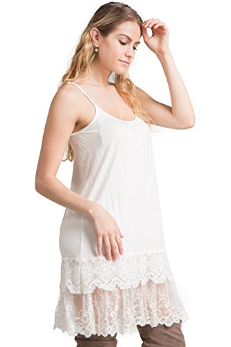 Fashionomics Womens LACE Trim Solid Slip Extender with Adjustable Strap (S, Off White-2)